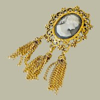 Vintage Cameo Brooch Pin Chain Tassels