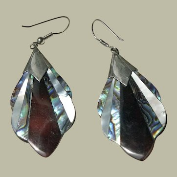 Earrings Abalone Faux Tortoise Shell Mother of Pearl Inlay