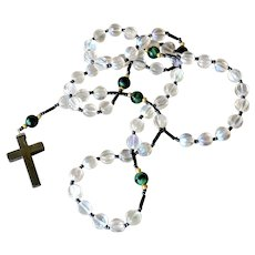 Glass Rosary Beads with Hematite Cross