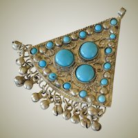Pendant Large Exotic Asian Silver Tone and Turquoise Glass Large