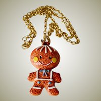 Necklace Porcelain Gingerbread Cookie Man
