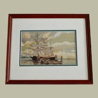Old Marine Watermedia Painting Schooner at Anchor with Rowboat Dinghy