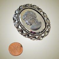 Large Unusual Cameo Pin Pendant Mirrored  Silver Grey Tones