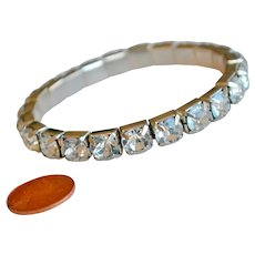 Bracelet Large Prong Set Large Faceted Clear Quartz Links