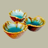 Three Pottery Shell Shape Nut Candy Dishes Brown Turquoise