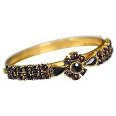 Antique Garnet Hinged Bracelet Victorian