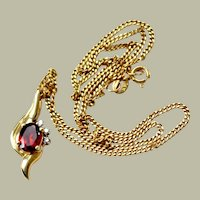 Necklace  Garnet Diamond 14k Gold Pendant Chain