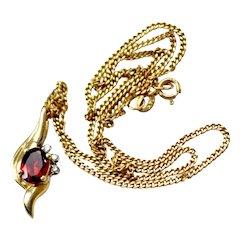 Necklace  Garnet Diamond 14k Gold Pendant Chain