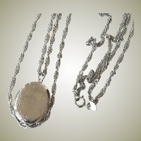 Citation Locket Pendant Necklace Two Strand Twisted Silver Tone 36 inches