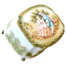 Bisque Porcelain Box Hand Painted Lovely Pastel Coloring