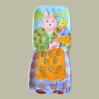 Redware Pottery Mom Rabbit Holding Baby Rabbit Italy Hand Painted