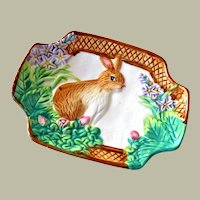 Royal Norfolk Rabbit or Bunny Dish with Flowers