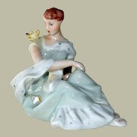 Hand Painted Figurine Sweet Girl with Bird Perched on her Shoulder