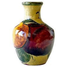 Art Pottery Vase Colorful Hand Painted Large Luscious Fruit