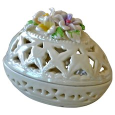 Luster Porcelain Egg Box with Applied Flowers