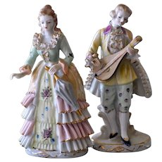 Exceptional Pair Courting Couple Porcelain Figurines Japan