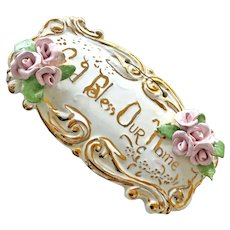 Wall Hanging with Applied Roses God Bless Our Home Plaque