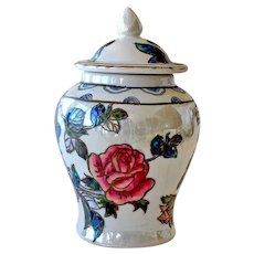 Vintage Chinese Luster Ginger or Covered Jar with Roses