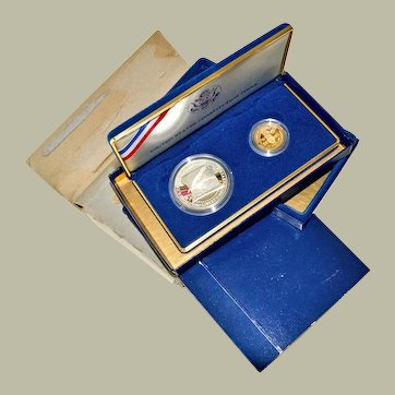 US Constitution 1097 $5 Gold and $1 Silver Proof Coin Set Original Packaging