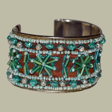 Vintage Wide Beaded Cuff Bracelet
