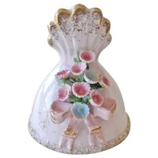 Tiny Lefton Porcelain Bell Pink Raised Sculpted Flowers