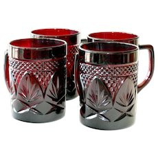 Four Ruby Glass Mugs Cris D'Arques Durand France