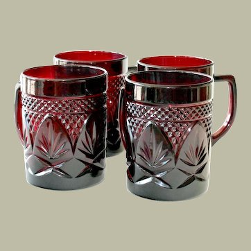 Four Ruby Glass Mugs Cris D'Arques Durand France