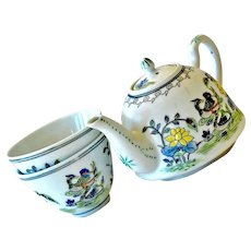 Small Canton Ware Teapot Two Cups Hand Painted Birds Tea Pot