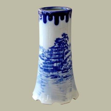 Chinese Vase Blue and White Large Pagoda Boat in Lake