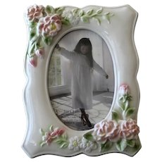 Ceramic Photograph Frame Elsa L. 1993 Raised Hand Painted Roses