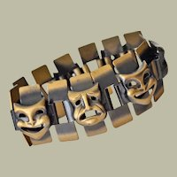 Bracelet Comedy and Tragedy Theater Masks Large Links