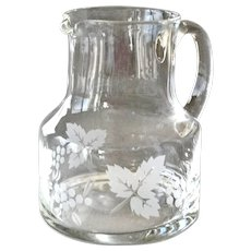 Vintage Etched Glass Pitcher Berries or Grapes and Leaves