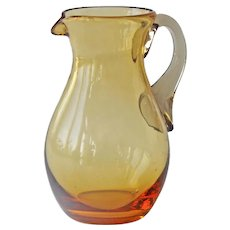 Amber Glass Pitcher Creamer Applied Gray Handle