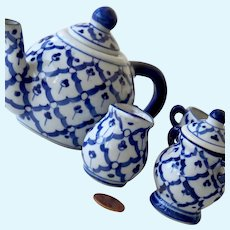 Childrens Tea Set Cobalt Blue Porcelain Miniature Teaset