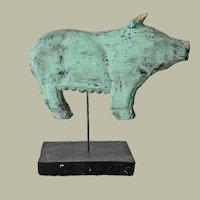 Folk Art Wood Carved Primitive Pig on Stand