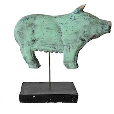 Folk Art Wood Carved Primitive Pig on Stand
