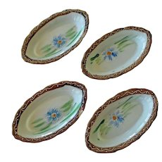 Four Antique Te-Oh Nippon Salt Cellars Moriage Detail Hand Painted