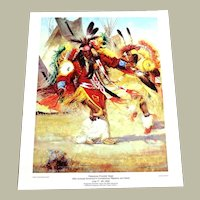 Vintage Poster Cheyenne Frontier Days 1992 Fancy Feather Dance Native America