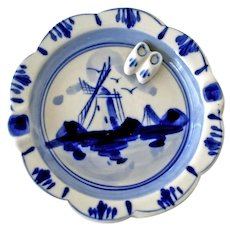Delft Blue Ashtray with Miniature Clogs and Windmill