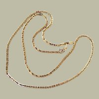 Monet Chain Necklace with Tag Gold Tone