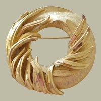 Hefty BSK Pin Brooch  Wreath Form with Raised Leaf Tendrils