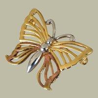 Anne Klein Butterfly Pin Three Tone