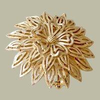 Lisner Pin Brooch Textured Leaves Petals