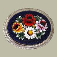 Pin Brooch Micromosiac Italy Floral Motif