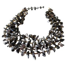 Striking Black Natural Lip Shell Four Strand Necklace