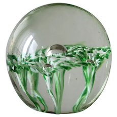 Paperweight Artistic Trumpet Lily Flowers Green and White