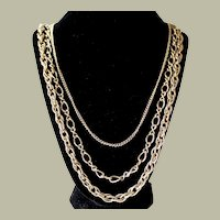 Multi strand Chain Necklace Three Strands Large and Small Links