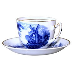 Blue and White Cup and Saucer Palissy Ware Windmill