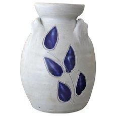 Vintage  Stoneware Vase  Jar Williamsburg Pottery Cobalt Blue Leaves