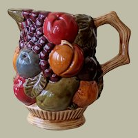 Vintage Majolica Style Pitcher Hand Painted